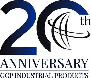 GCP Industrial Products 20th anniversary logo in blue and black - GCP Industrial Products