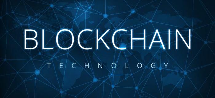 Blockchain technology written in white on a blue futuristic background