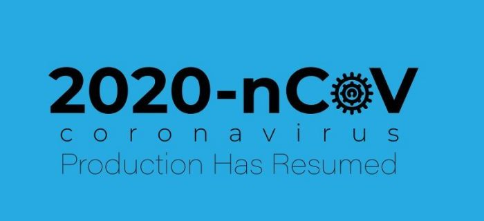 Black 2020-nCoV coronavirus Product Has Returned text on blue background