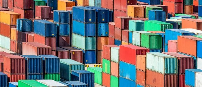 Containers stacked at port